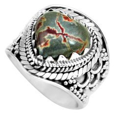 6.63cts natural brown coffee bean jasper 925 silver solitaire ring size 7 d32146