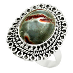 7.51cts natural brown coffee bean jasper 925 silver solitaire ring size 8 d32169