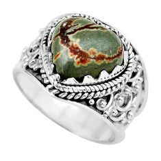 6.36cts natural brown coffee bean jasper 925 silver solitaire ring size 7 d32178