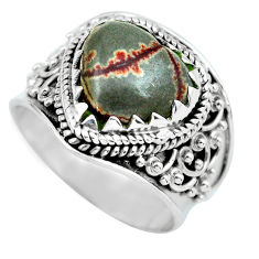 6.10cts natural brown coffee bean jasper 925 silver solitaire ring size 7 d32179