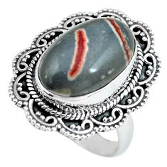 10.64cts natural brown coffee bean jasper silver solitaire ring size 8 d32110