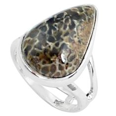 Natural brown dinosaur bone fossilized 925 silver solitaire ring size 6.5 p45994