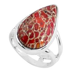 Natural brown dinosaur bone fossilized 925 silver solitaire ring size 6 p45996
