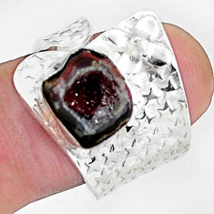 4.82cts natural brown geode druzy 925 silver adjustable ring size 8 p57269