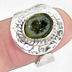 4.22cts natural brown geode druzy 925 silver adjustable ring size 7.5 p57270