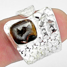 3.91cts natural brown geode druzy fancy 925 silver adjustable ring size 8 p57275