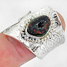 4.55cts natural brown geode druzy fancy 925 silver adjustable ring size 8 p57276