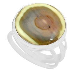 16.06cts natural brown imperial jasper 925 silver solitaire ring size 8.5 p80681