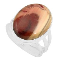 13.77cts natural brown imperial jasper 925 silver solitaire ring size 7 p80683