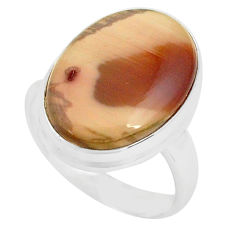 13.27cts natural brown imperial jasper 925 silver solitaire ring size 8 p80685
