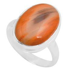 11.21cts natural brown imperial jasper 925 silver solitaire ring size 8 p80686