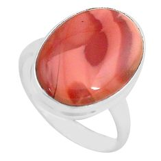 13.70cts natural brown imperial jasper 925 silver solitaire ring size 8 p80689