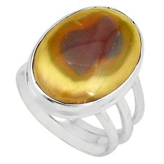 14.40cts natural brown imperial jasper 925 silver solitaire ring size 8 p80692