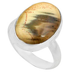 10.31cts natural brown imperial jasper 925 silver solitaire ring size 7.5 p80693