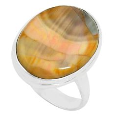 13.70cts natural brown imperial jasper 925 silver solitaire ring size 7 p80694