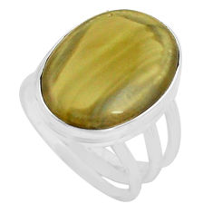 13.77cts natural brown imperial jasper 925 silver solitaire ring size 7 p80699