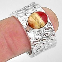 3.29cts natural brown mookaite 925 sterling silver adjustable ring size 8 p57224