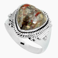 Clearance Sale- 6.02cts natural brown mushroom rhyolite 925 silver solitaire ring size 9 d32016
