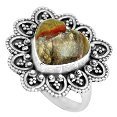 Clearance Sale- 7.24cts natural brown mushroom rhyolite 925 silver solitaire ring size 8 d32160