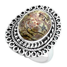 6.48cts natural brown mushroom rhyolite silver solitaire ring size 7.5 d32084