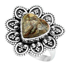 5.79cts natural brown mushroom rhyolite silver solitaire ring size 8.5 d32086