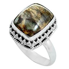 6.48cts natural brown mushroom rhyolite silver solitaire ring size 7.5 d32093