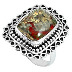 7.51cts natural brown mushroom rhyolite silver solitaire ring size 6.5 d32112