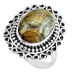 Clearance Sale- 7.24cts natural brown mushroom rhyolite silver solitaire ring size 7.5 d32126