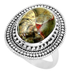 Clearance Sale- 7.51cts natural brown mushroom rhyolite silver solitaire ring size 8.5 d32172