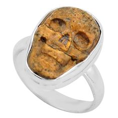 9.29cts natural brown picture jasper silver skull solitaire ring size 8 p88205