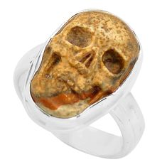 9.86cts natural brown picture jasper silver skull solitaire ring size 7 p88207