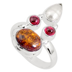 7.66cts natural brown pietersite (african) 925 silver ring size 8.5 p52733
