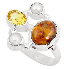 7.66cts natural brown pietersite (african) citrine 925 silver ring size 8 p52659