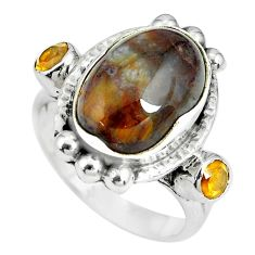 7.58cts natural brown pietersite (african) citrine 925 silver ring size 7 p69886