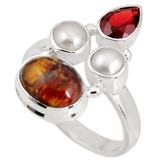 8.42cts natural brown pietersite (african) pearl 925 silver ring size 8.5 p90801
