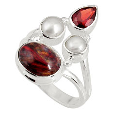 9.10cts natural brown pietersite (african) pearl 925 silver ring size 7.5 p90803