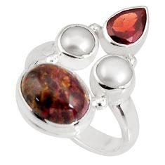 8.42cts natural brown pietersite (african) pearl 925 silver ring size 6.5 p90807