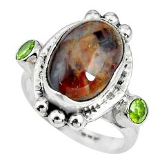 7.73cts natural brown pietersite (african) peridot 925 silver ring size 7 p69902