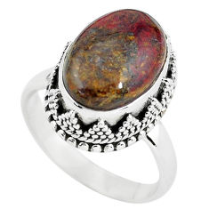 6.76cts natural brown pietersite (african) silver solitaire ring size 8 p56579