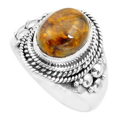 4.40cts natural brown pietersite (african) silver solitaire ring size 7 p71680