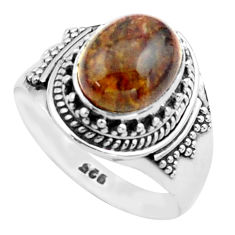 4.22cts natural brown pietersite (african) silver solitaire ring size 8 p74874