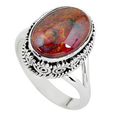 6.54cts natural brown pietersite 925 silver solitaire ring size 8.5 p56741