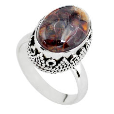 6.35cts natural brown pietersite 925 silver solitaire ring size 7 p56742