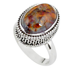 6.53cts natural brown pietersite 925 silver solitaire ring size 6.5 p56743
