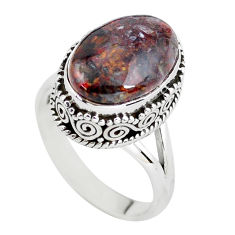 6.76cts natural brown pietersite 925 silver solitaire ring size 8 p56747