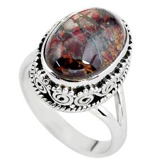 6.96cts natural brown pietersite 925 silver solitaire ring size 7 p56748