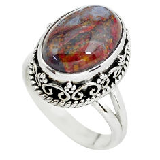 6.54cts natural brown pietersite 925 silver solitaire ring size 7 p56750