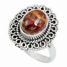 4.29cts natural brown pietersite 925 silver solitaire ring size 8 p63298
