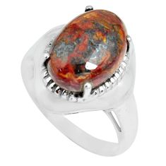 6.31cts natural brown pietersite 925 silver solitaire ring size 8 p69969