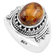 4.38cts natural brown pietersite oval 925 silver solitaire ring size 7 p74862